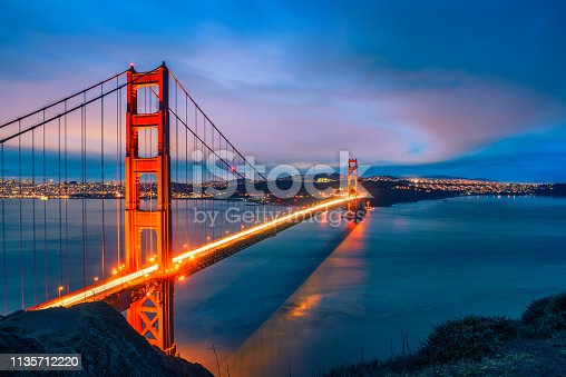 Famous Golden Gate Bridge in San Francisco at night seen from Battery Spencer viewpoint. Long exposure, artistic vintage style processing.