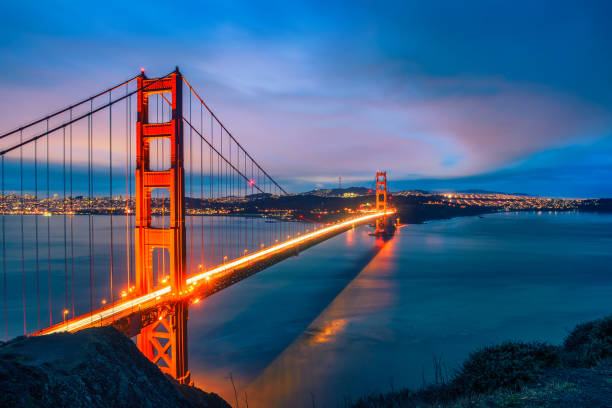 Golden Gate Bridge at night Famous Golden Gate Bridge in San Francisco at night seen from Battery Spencer viewpoint. Long exposure, artistic vintage style processing. golden gate bridge stock pictures, royalty-free photos & images