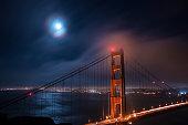 a long exposure shot of the golden gate bridge looking back onto san Francisco