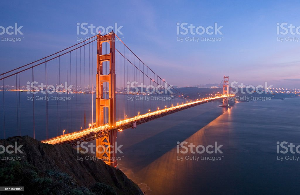 Golden Gate Bridge at Night (wide angle) royalty-free stock photo