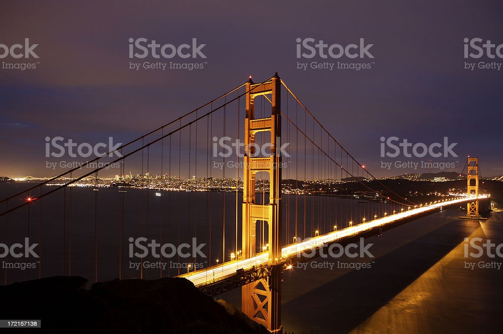 Golden Gate Bridge at Night royalty-free stock photo