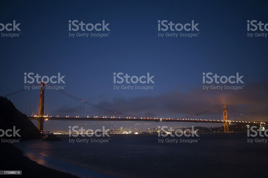 Golden Gate Bridge at Night royalty-free stock photo