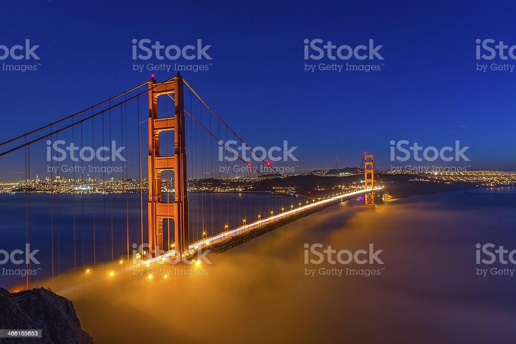 Golden Gate Bridge at Night stock photo