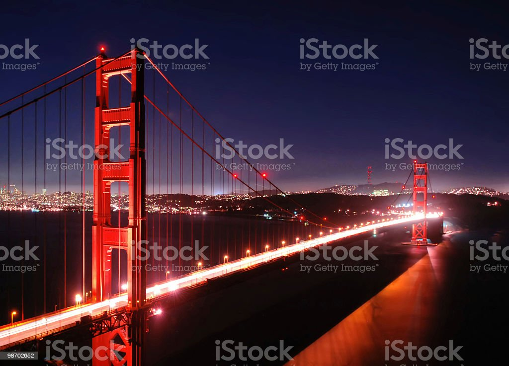 golden gate bridge di notte foto stock royalty-free