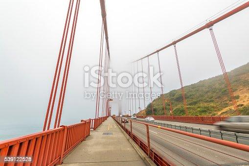 Rainy foggy day on the Golden Gate Bridge.