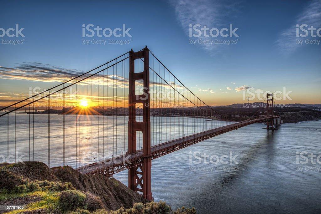 Golden Gate Bridge at Sunrise stock photo