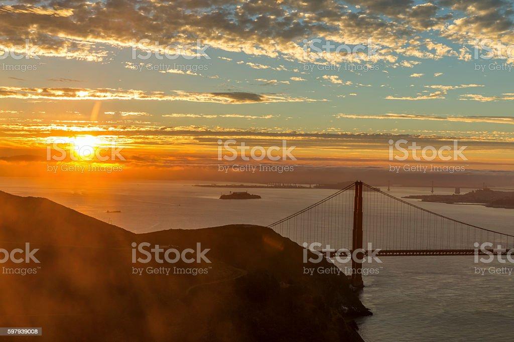 Ponte Golden Gate no pôr-do-sol foto royalty-free