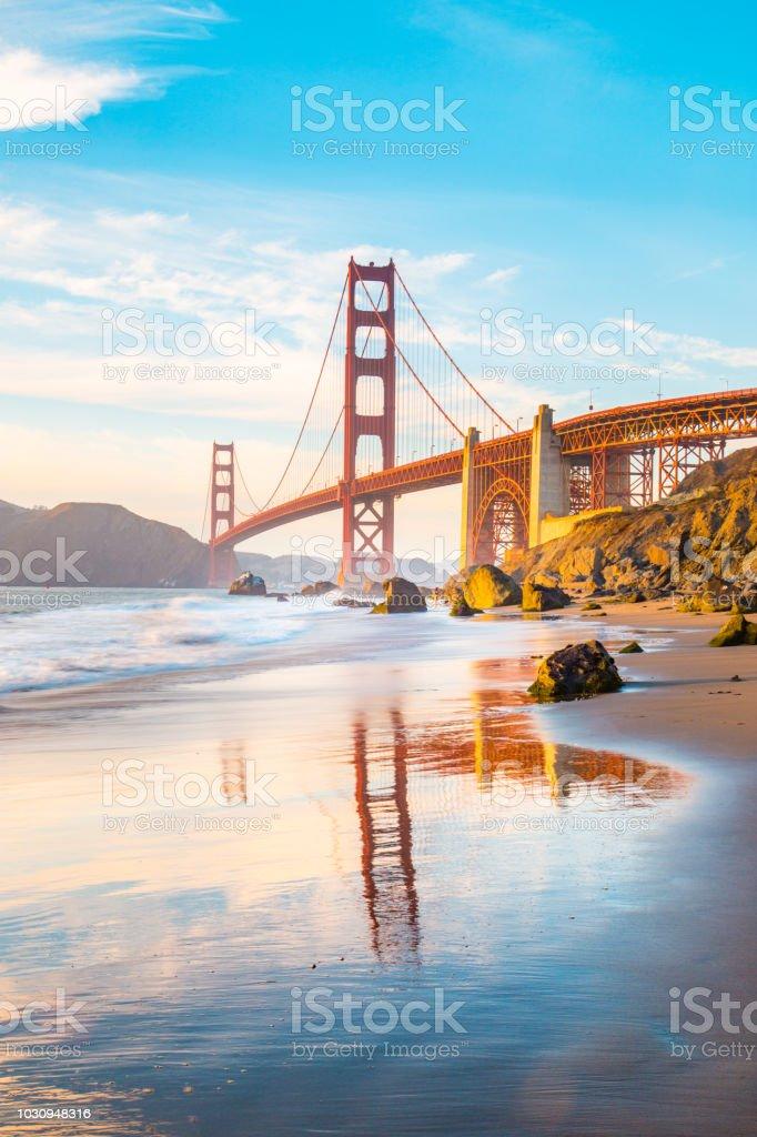 Golden Gate Bridge at sunset, San Francisco, California, USA stock photo