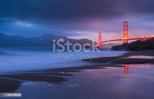 California, Dusk, Famous Place, Golden Gate Bridge, International Landmark