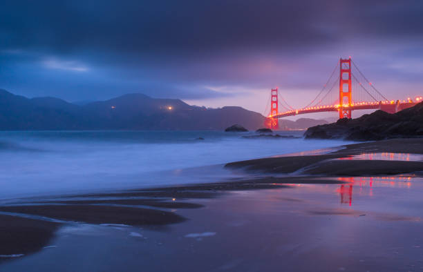 Golden Gate Bridge at sunset, San Francisco, California, USA California, Dusk, Famous Place, Golden Gate Bridge, International Landmark golden gate bridge stock pictures, royalty-free photos & images