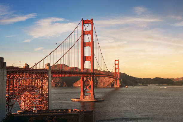 Golden Gate Bridge at sunset-San Francisco, California, USA – Foto