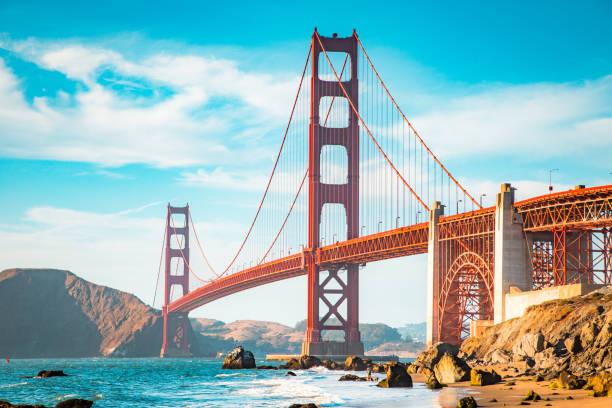 Golden Gate Bridge at sunset, San Francisco, California, USA – Foto