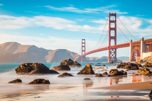 Golden Gate Bridge at sunset, San Francisco, California, USA – Foto