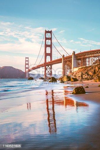 istock Golden Gate Bridge at sunset, San Francisco, California, USA 1163531605