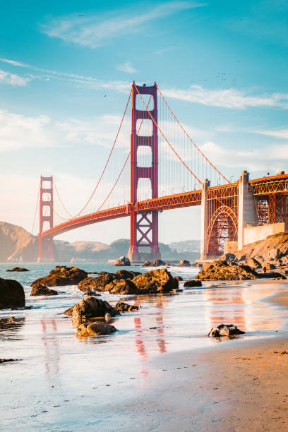 Golden Gate Bridge bei Sonnenuntergang, San Francisco, Kalifornien, USA – Foto