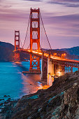 Classic panorama view of famous Golden Gate Bridge seen from scenic Baker Beach in beautiful post sunset twilight with blue sky and clouds at dusk in summer, San Francisco, California, USA