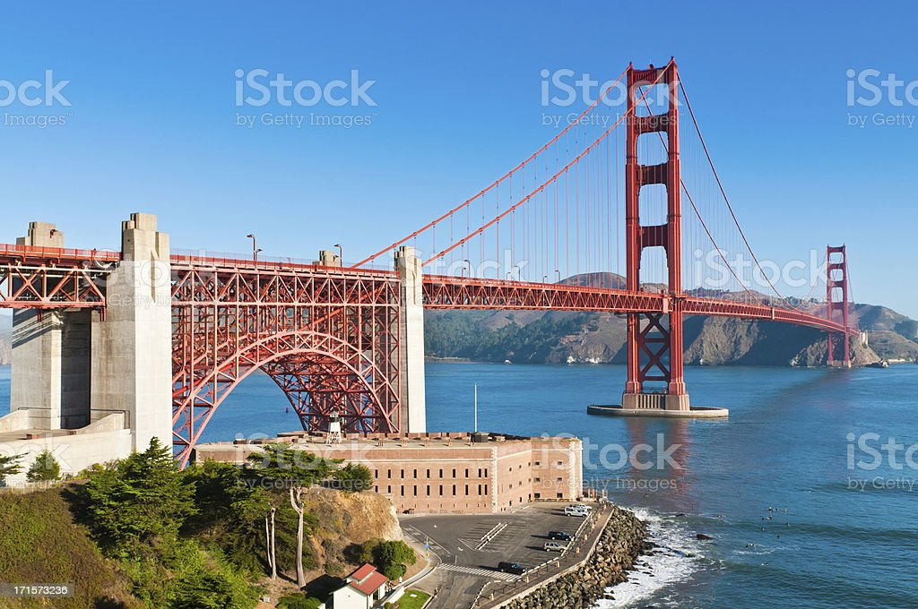 Golden Gate Bridge Fort Point Marin Headlands San Francisco California stock photo