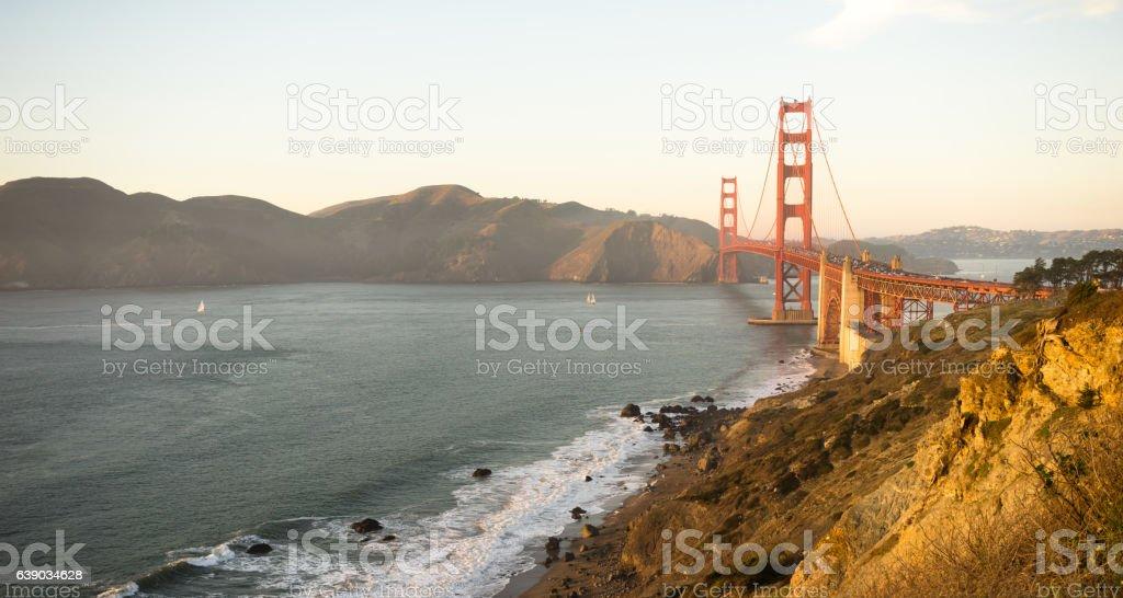 Golden Gate Bridge Fort Point San Francisco Bay California stock photo