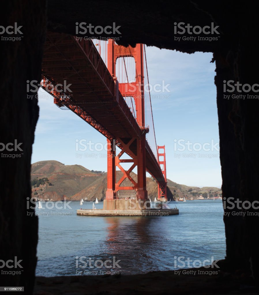 Golden Gate Bridge from a Fort Point Window stock photo