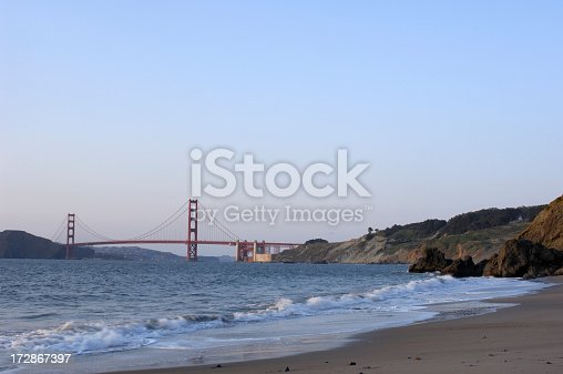 China Beach at sunset with the Golden Gate Bridge in the background.
