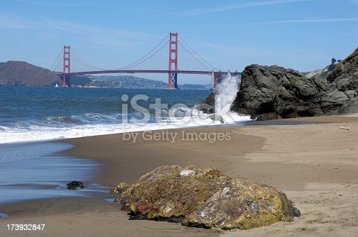 China Beach waves with the Golden Gate Bridge in the background.