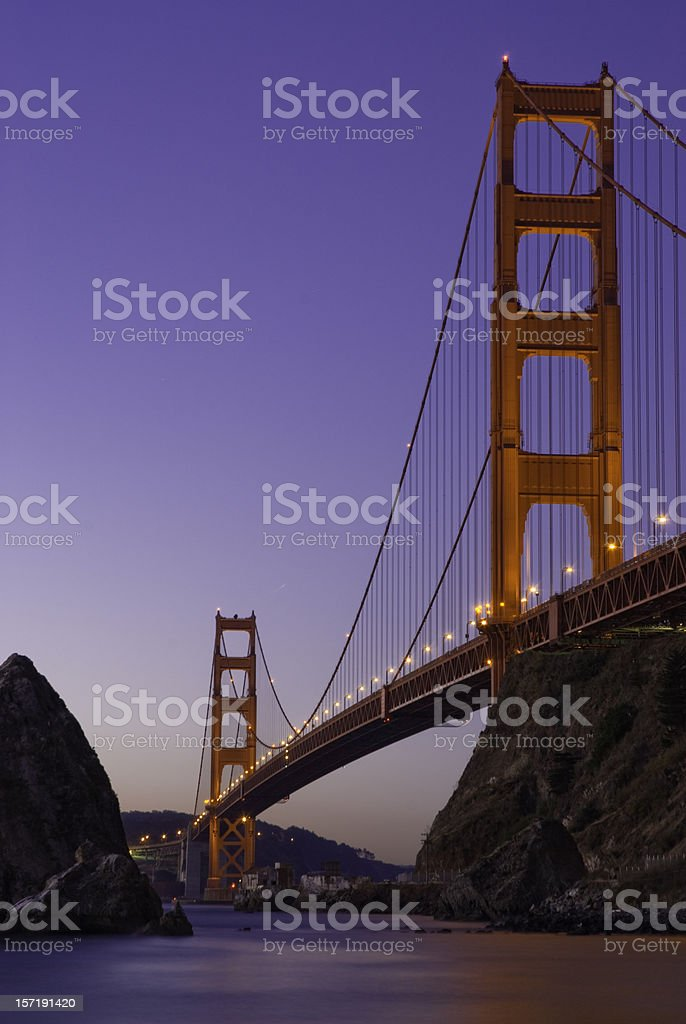 Golden Gate Bridge from Fort Baker, Dawn royalty-free stock photo