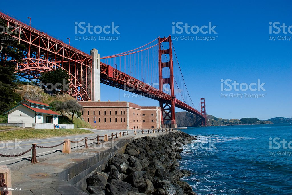 Golden Gate Bridge from Fort Point, San Francisco stock photo