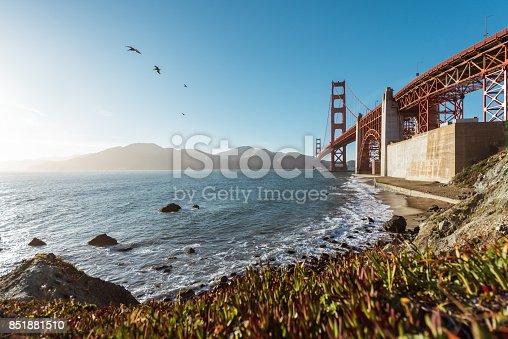 San Francisco Golden Gate Bridge from Marshall beach in California USA