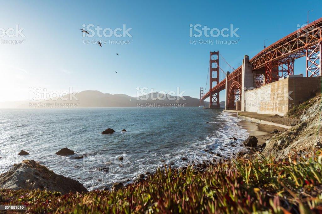 Golden Gate Bridge from Marshall beach stock photo