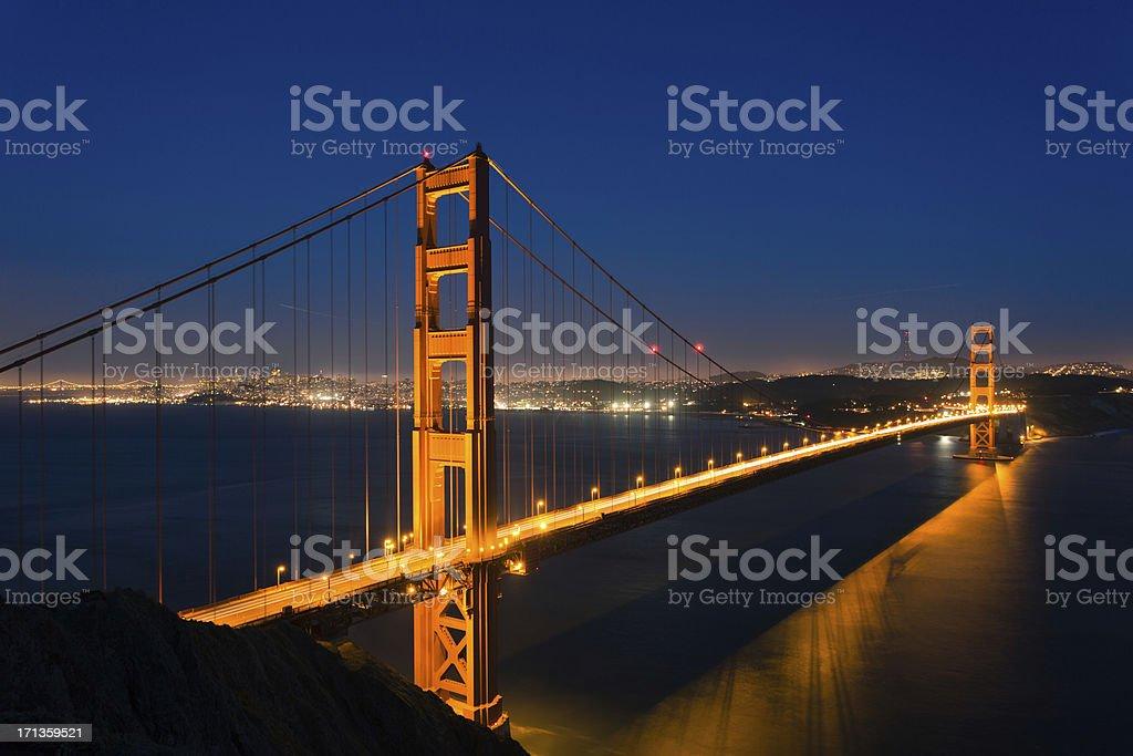 Golden Gate Bridge glow in the dusk royalty-free stock photo