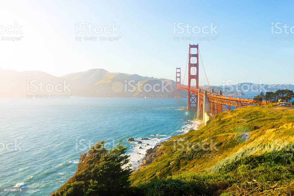 Golden Gate Bridge High Key Sunlight Fort Point stock photo