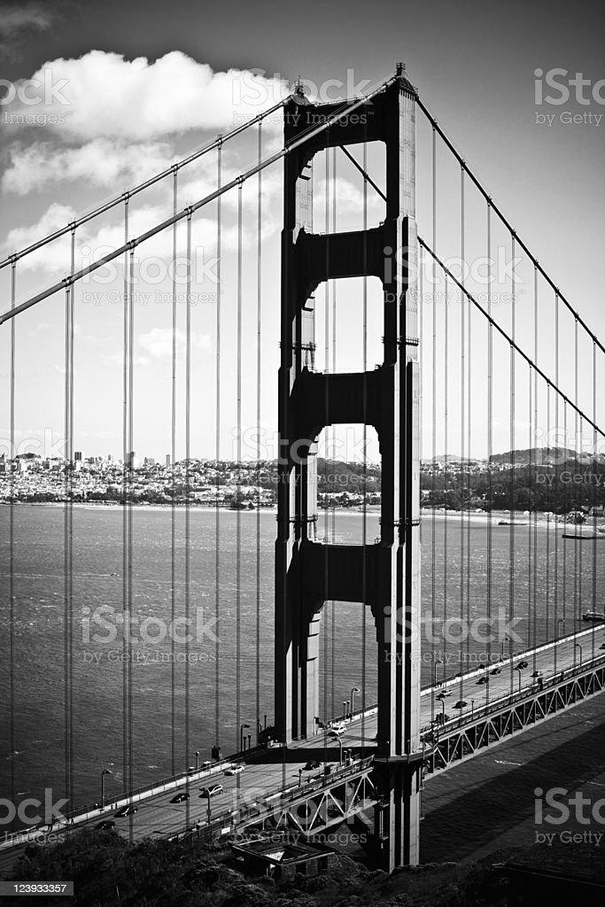 Golden Gate Bridge in black and white royalty-free stock photo