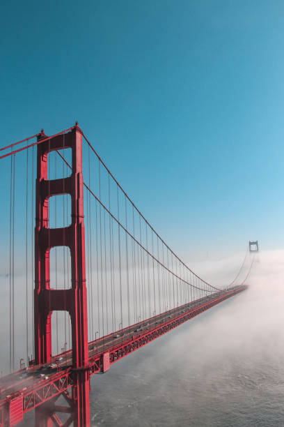 Golden Gate Bridge in fog San Francisco, USA stock photo