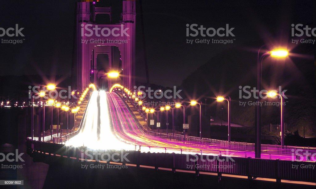 Golden Gate Bridge In Lights royalty-free stock photo