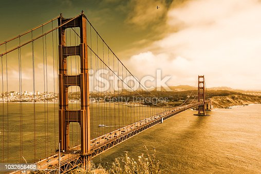 530755444 istock photo Golden Gate Bridge in Orange 1032656468