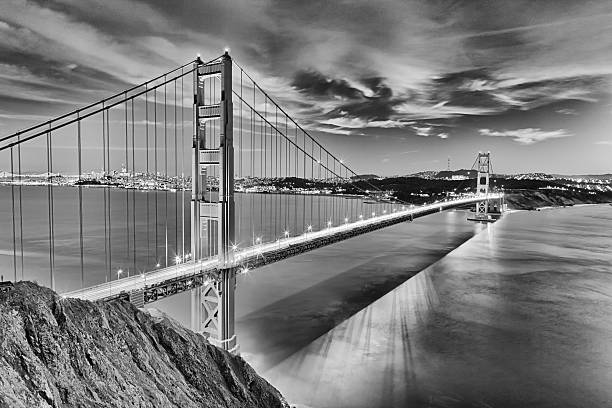 Golden Gate Bridge in San Fracisco City Black and White stock photo