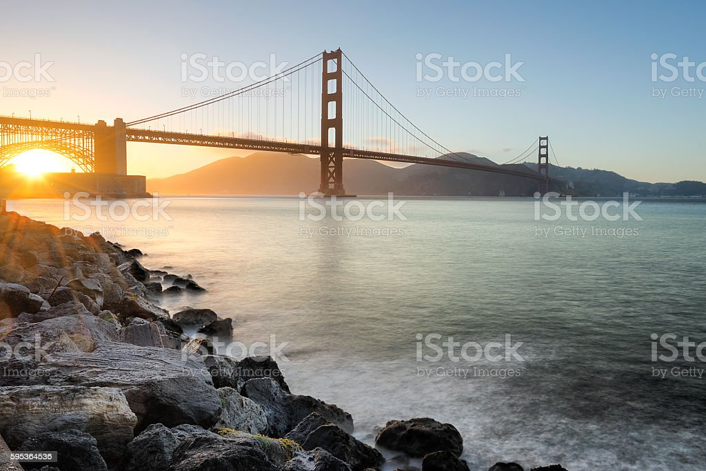 Golden Gate Bridge in San Francisco at Sunset stock photo