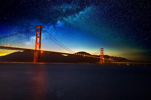 Golden Gate Bridge in San Francisco CA night full moon