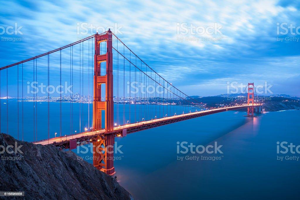 Golden Gate Bridge in San Francisco California after sunset stock photo