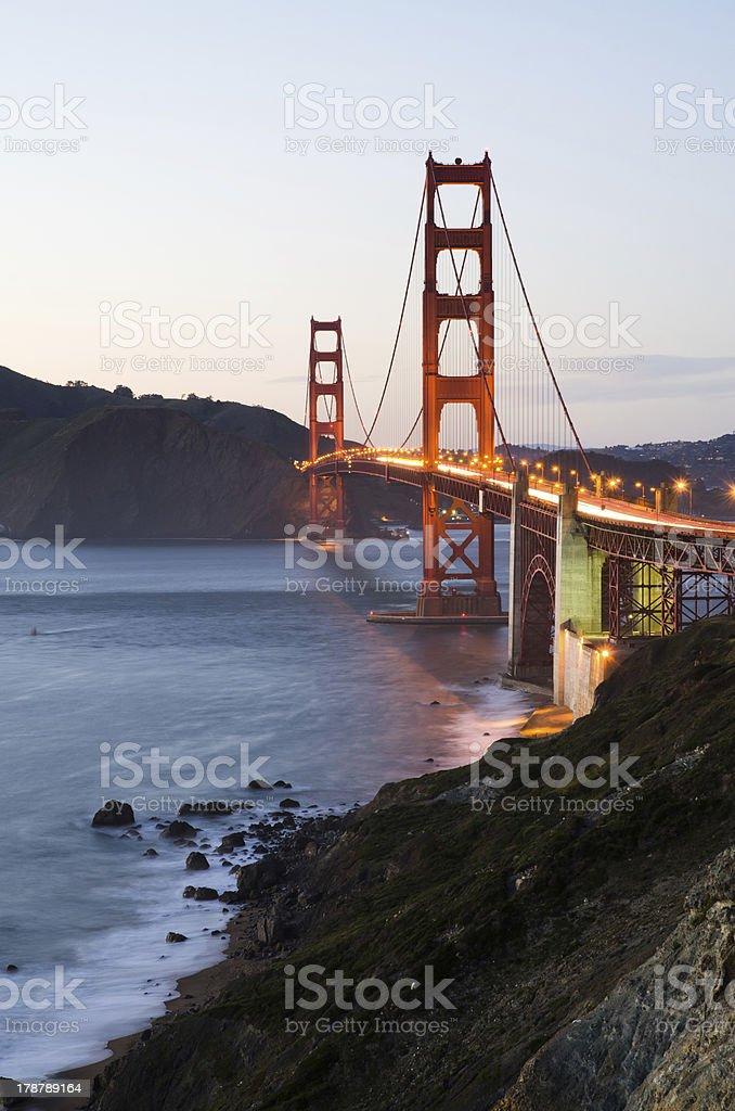 Golden Gate Bridge in San Francisco California at night royalty-free stock photo
