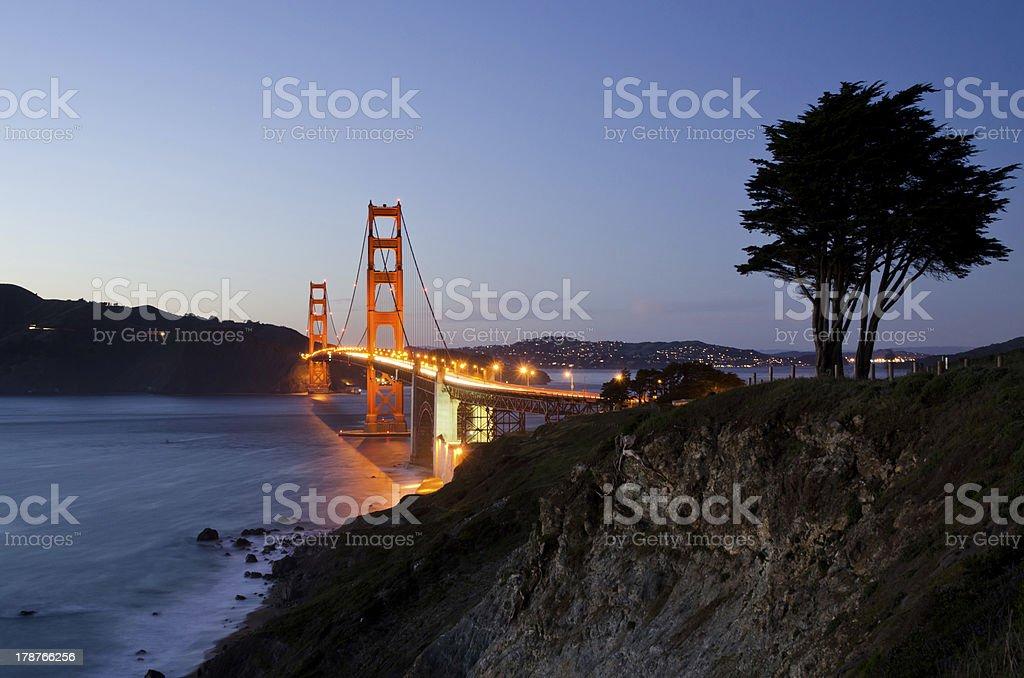 Golden Gate Bridge in San Francisco California illuminated at night royalty-free stock photo