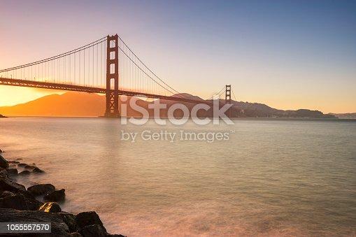 Golden Gate Bridge in San Francisco during sunset