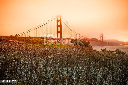 istock Golden Gate Bridge in San Francisco on a foggy day 611994676