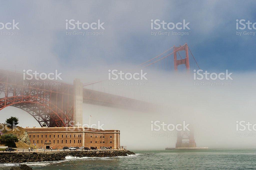 Golden Gate Bridge in the fog. stock photo