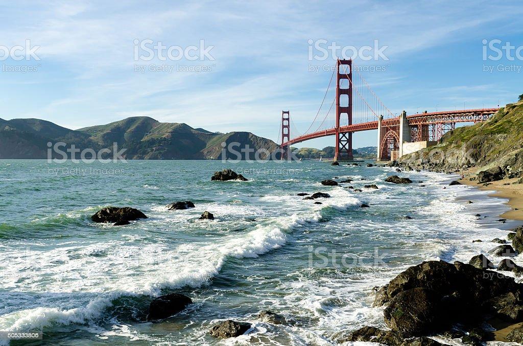 Golden Gate Bridge landmark in San Francisco California USA stock photo