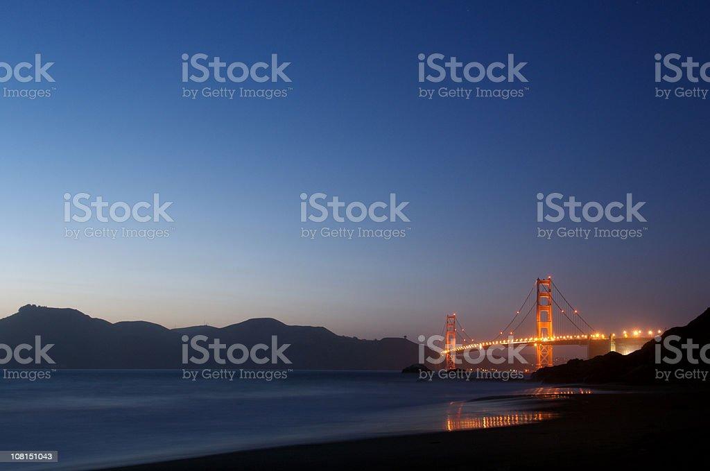 Golden Gate Bridge Lit Up at Night royalty-free stock photo