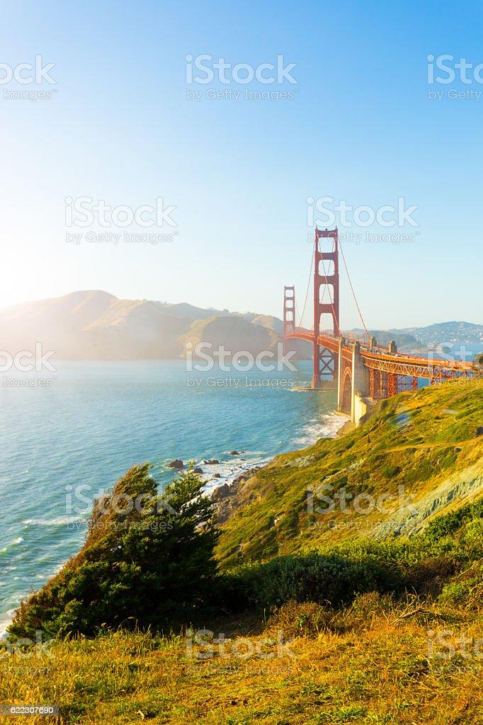 Golden Gate Bridge Marin Sunset Fort Point Coast V stock photo