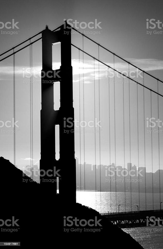 Golden Gate Bridge Monochrome royalty-free stock photo
