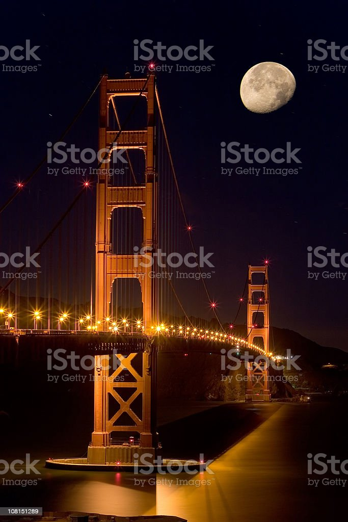 Golden Gate Bridge moonlight, San Francisco royalty-free stock photo