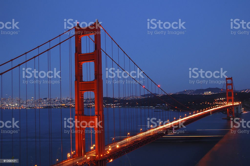 Golden Gate Bridge - night lights royalty-free stock photo